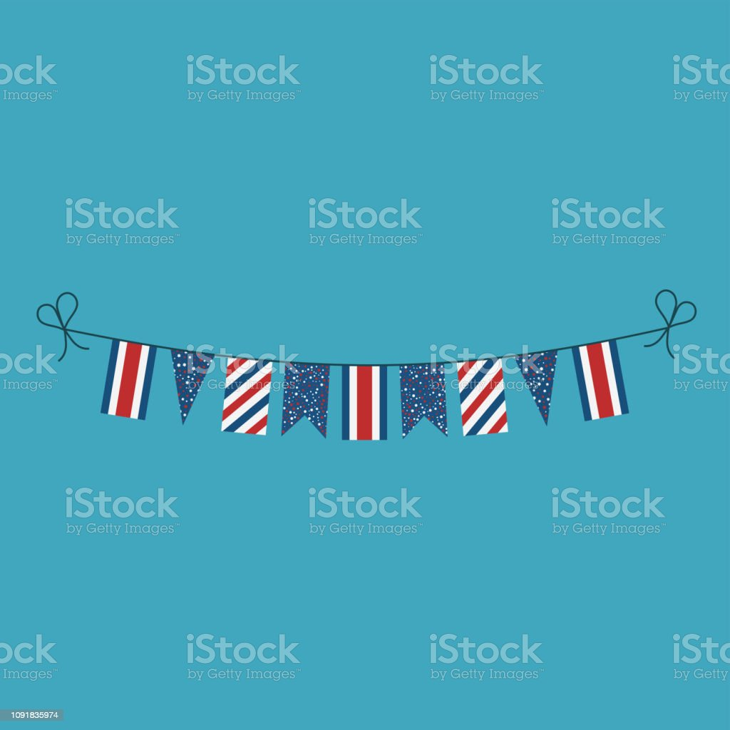 Decorations bunting flags for Costa Rica national day holiday in flat design vector art illustration