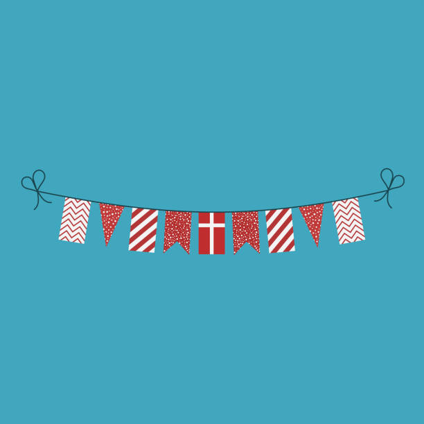 Decorations bunting flags for Denmark national day holiday in flat design vector art illustration