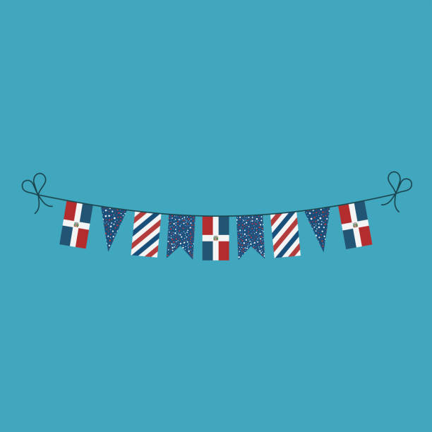 Decorations bunting flags for Dominican Republic national day holiday in flat design vector art illustration
