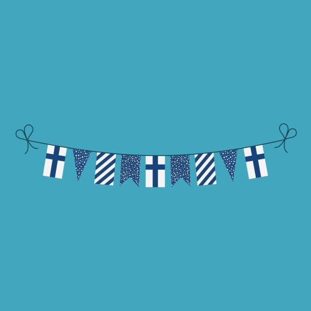 ilustraciones, imágenes clip art, dibujos animados e iconos de stock de decoraciones de banderines banderas de finlandia vacaciones de día nacional en diseño plano - bandera finlandesa