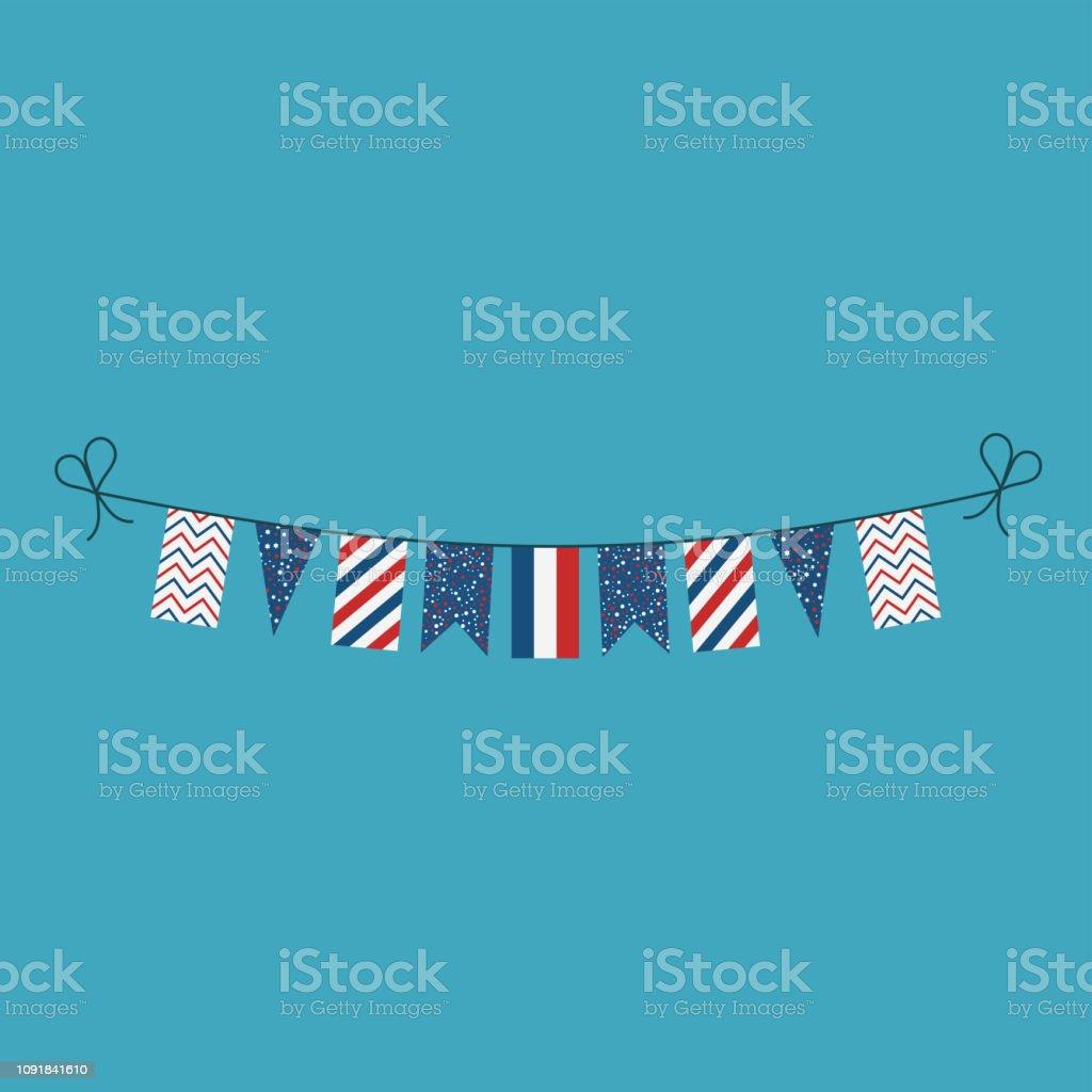 Décorations de banderoles de drapeaux pour la France fête nationale au design plat - Illustration vectorielle