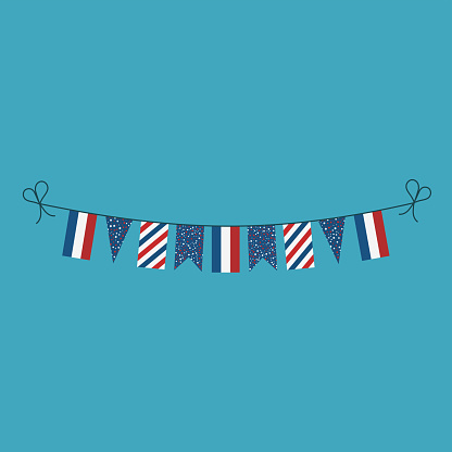 Decorations bunting flags for France national day holiday in flat design