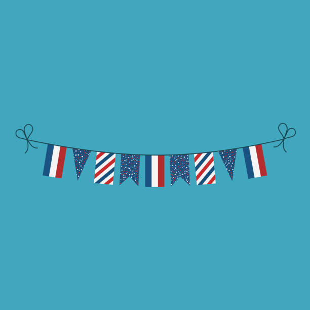 Decorations bunting flags for France national day holiday in flat design vector art illustration
