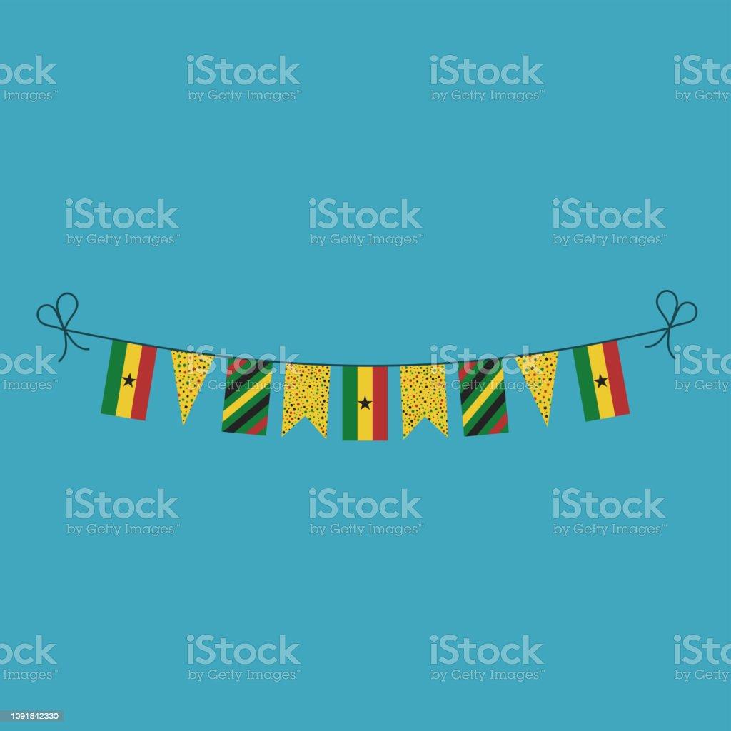 Decoraciones de banderines banderas de Ghana día nacional festivo en diseño plano - ilustración de arte vectorial