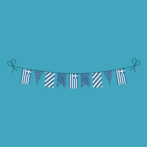 Decorations bunting flags for Greece national day holiday in flat design vector art illustration