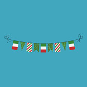 Decorations bunting flags for Italy national day holiday in flat design. Independence day or National day holiday concept.