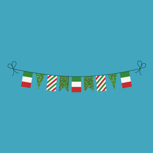 Decorations bunting flags for Italy national day holiday in flat design vector art illustration