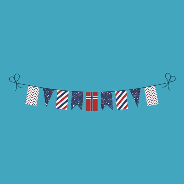 stockillustraties, clipart, cartoons en iconen met decoraties bunting vlaggen voor noorwegen nationale dag vakantie in platte ontwerp - noorse vlag
