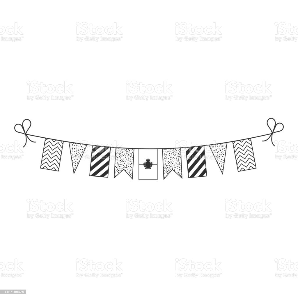 542a33163a79a Decorations bunting flags for San Marino national day holiday in black  outline flat design - Illustration .