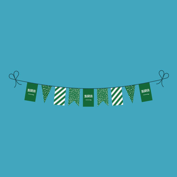 Decorations bunting flags for Saudi Arabia national day holiday in flat design vector art illustration