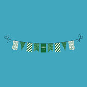 Decorations bunting flags for Saudi Arabia national day holiday in flat design. Independence day or National day holiday concept.