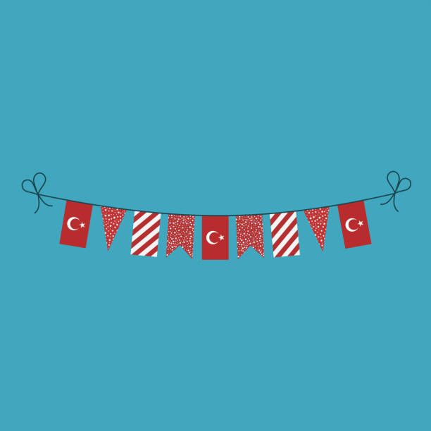 Decorations bunting flags for Turkey national day holiday in flat design vector art illustration