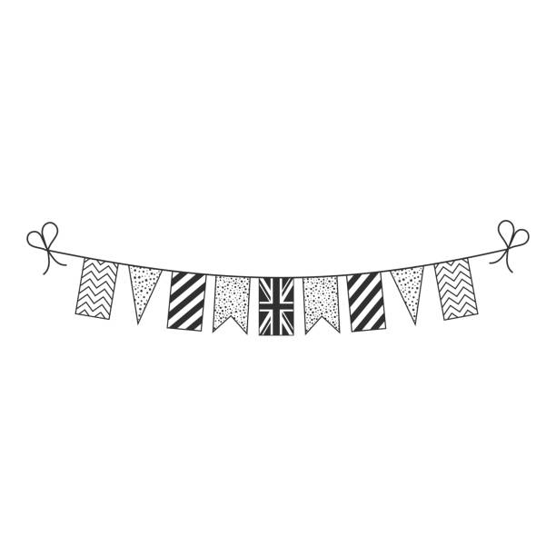 Decorations bunting flags for United Kingdom national day holiday in black outline flat design vector art illustration