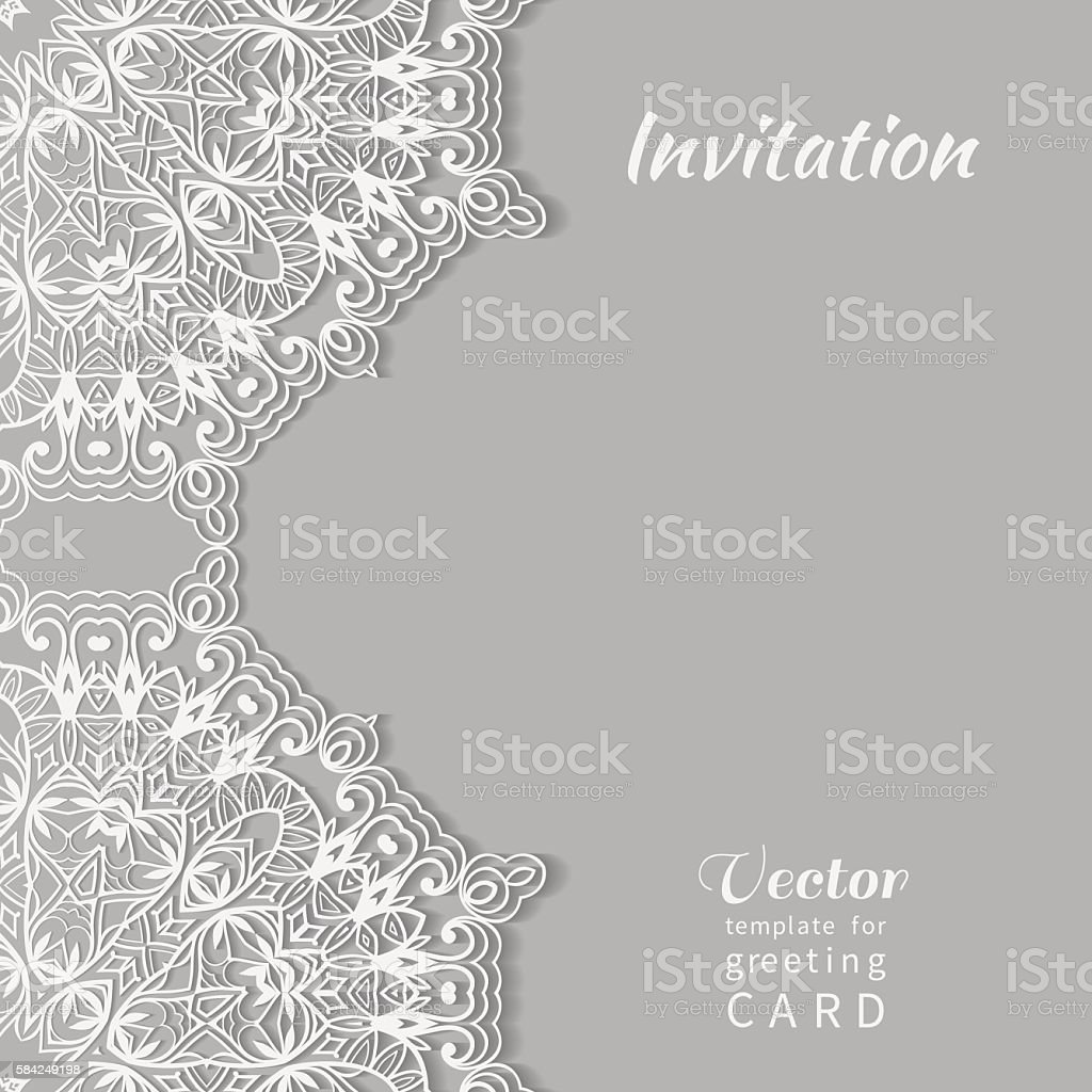 Decorative Abstract Lace Background Card Or Invitation Template