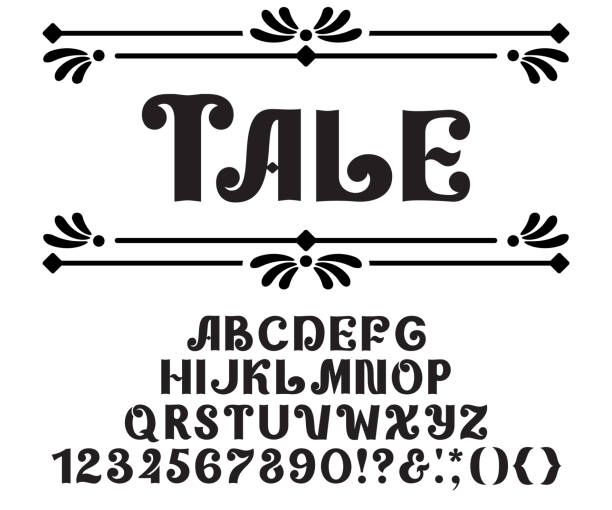 illustrazioni stock, clip art, cartoni animati e icone di tendenza di decorative alphabet fairy tale design. vector typeface, ornate style, letters and numbers - personaggio fantastico