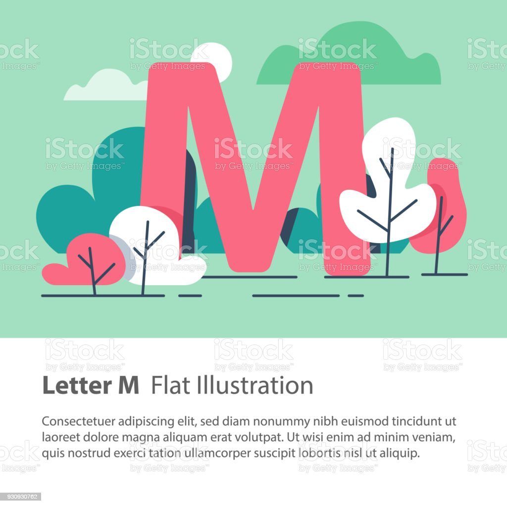 Decorative Alphabet Letter M In Floral Background Park Trees Simple Font Education