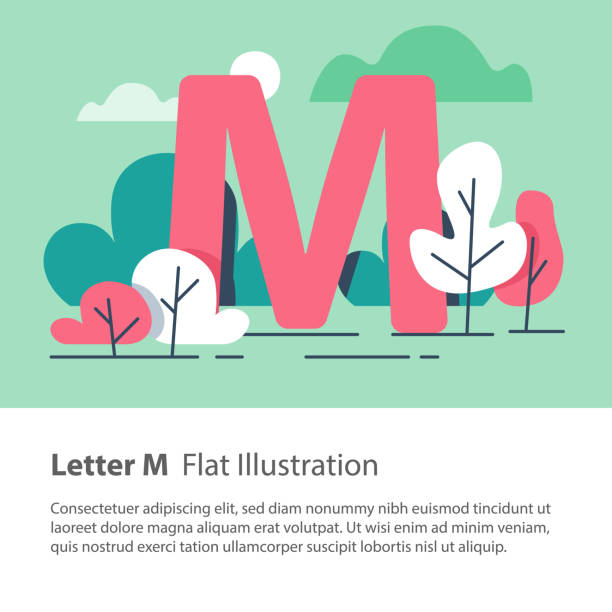 decorative alphabet letter m in floral background park trees simple