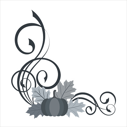 Decorative angle border with pumpkin, leaves, cranberry and swirl pattern.