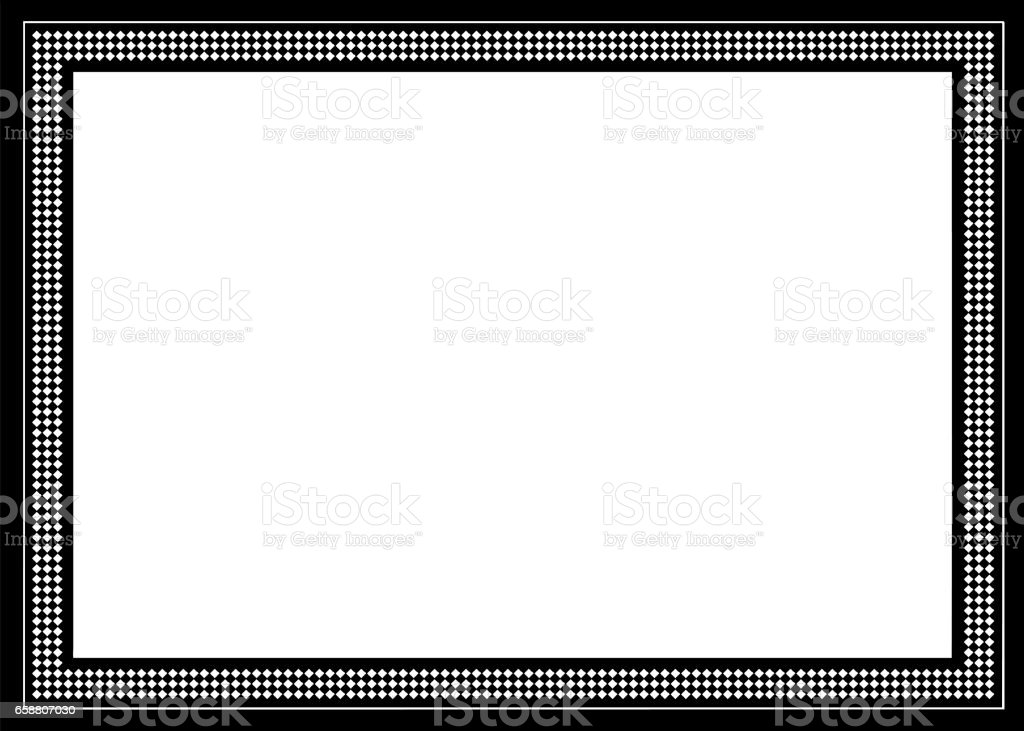 Decorative Arts Frame with Mosaics and Black Border vector art illustration