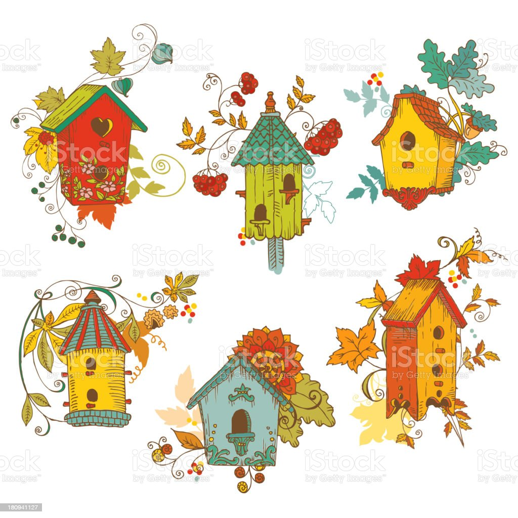 Decorative Autumn branches with Birdhouses royalty-free stock vector art
