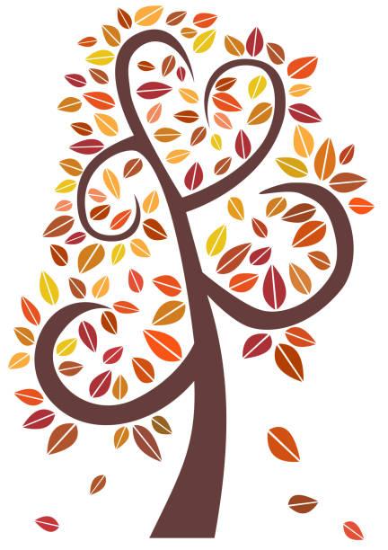 Árbol decorativo de otoño con hojas de color - ilustración de arte vectorial