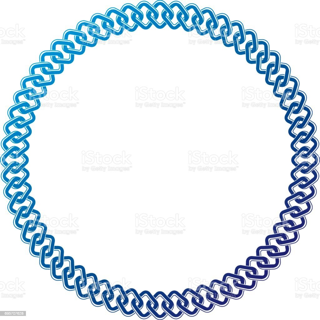 Decorative award vintage circular frame with clear copy space made as chain design. Vector retro style label, heraldry emblem isolated on white background. vector art illustration