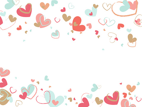 Decorative background with brush painted hearts on white backdrop. Flat vector texture.