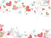 istock Decorative background with brush painted hearts on white backdrop. Flat vector texture. 1097272726