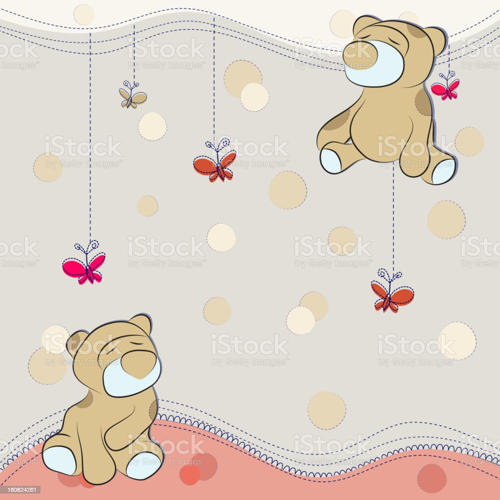 Decorative background with cute teddy bears royalty-free stock vector art