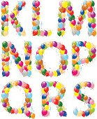 Vector illustration of decorative balloons letters K-S.