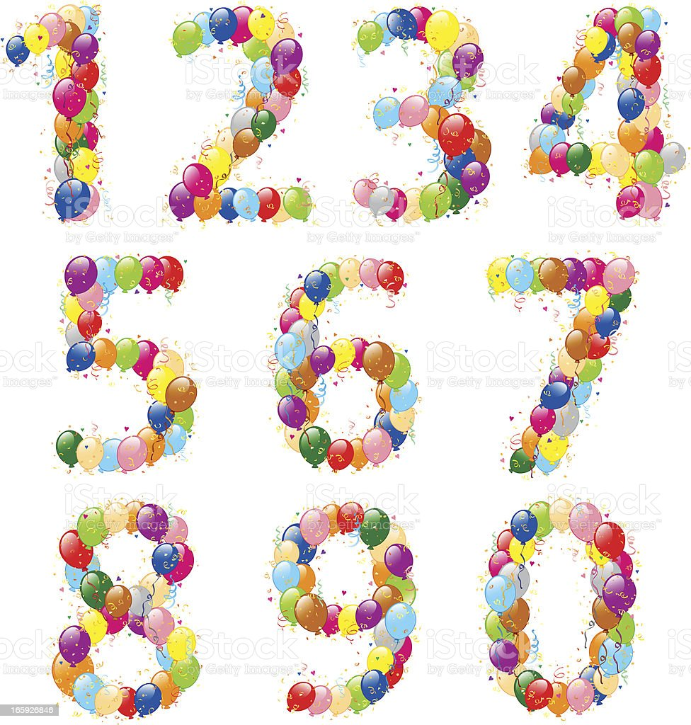 Decorative balloons numbers royalty-free stock vector art