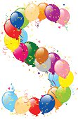Vector illustration of decorative balloons S letter. Balloons, confetti and ribbons are on separate layers.