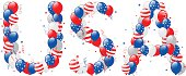 Vector illustration of decorative balloons USA text. Letters are made from balloons, stars and ribbons.