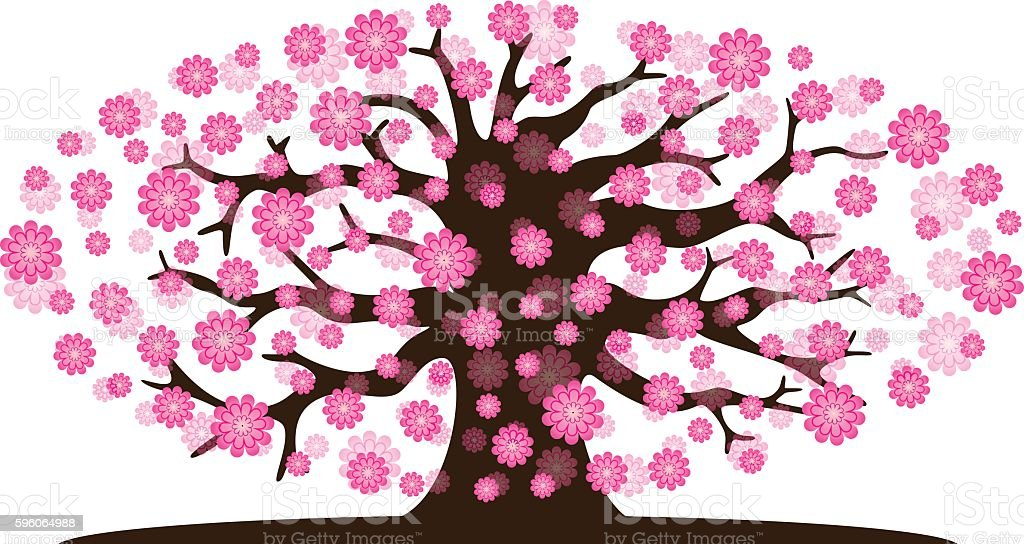 Decorative beautiful cherry blossom tree royalty-free decorative beautiful cherry blossom tree stock vector art & more images of beauty in nature