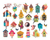 Decorative bird house vector illustration set. Cartoon cute birdhouse for flying birds, cute birdbox, colorful birdie wooden home on garden tree branch with spring flowers flat icons isolated on white