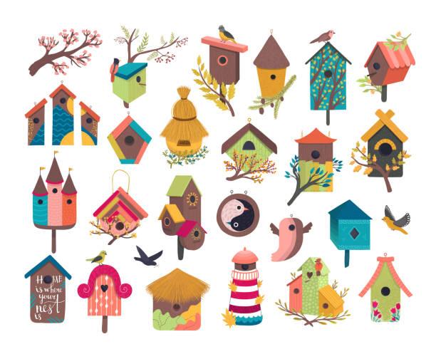 Decorative bird house vector illustration set, cartoon cute bird vector art illustration