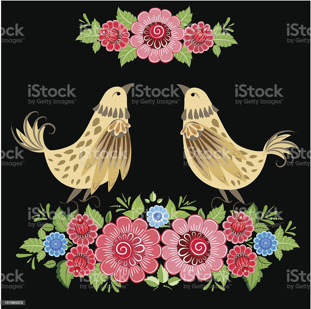 Decorative bird in flowers Khokhloma royalty-free decorative bird in flowers khokhloma stock vector art & more images of backgrounds