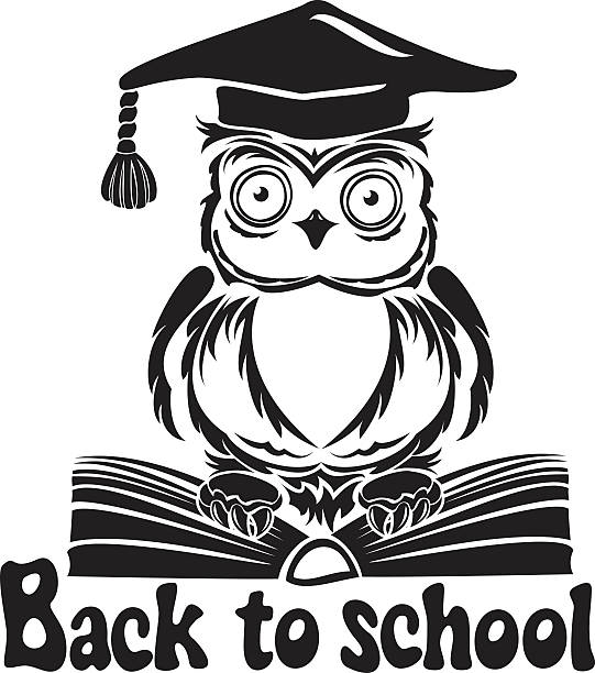decorative bird - owl with graduation cap and book - black and white owl stock illustrations, clip art, cartoons, & icons