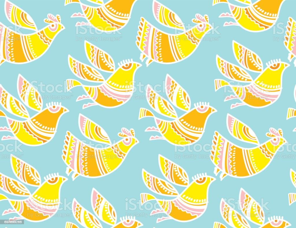 Decorative Birds Summer Color Seamless Vector Pattern For Surface ...