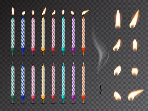 Decorative birthday candles realistic mockup set
