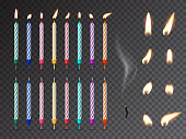 Decorative birthday candles realistic mockup set. 3D dessert decorations, fire and burnout wick isolated on transparent background. Various holiday lights vector illustration. Festive candlelights