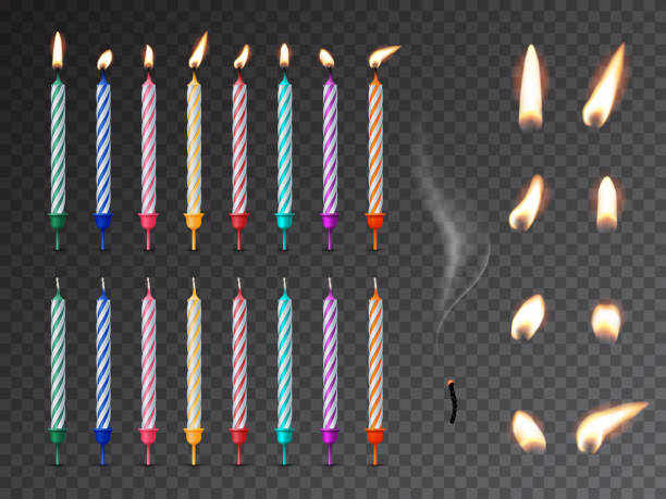 Decorative birthday candles realistic mockup set Decorative birthday candles realistic mockup set. 3D dessert decorations, fire and burnout wick isolated on transparent background. Various holiday lights vector illustration. Festive candlelights birthday silhouettes stock illustrations