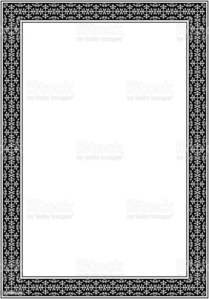 Marco Decorativo Blanco Y Negro Formato A4 Página Estilo
