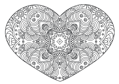 Decorative  black and white  heart.
