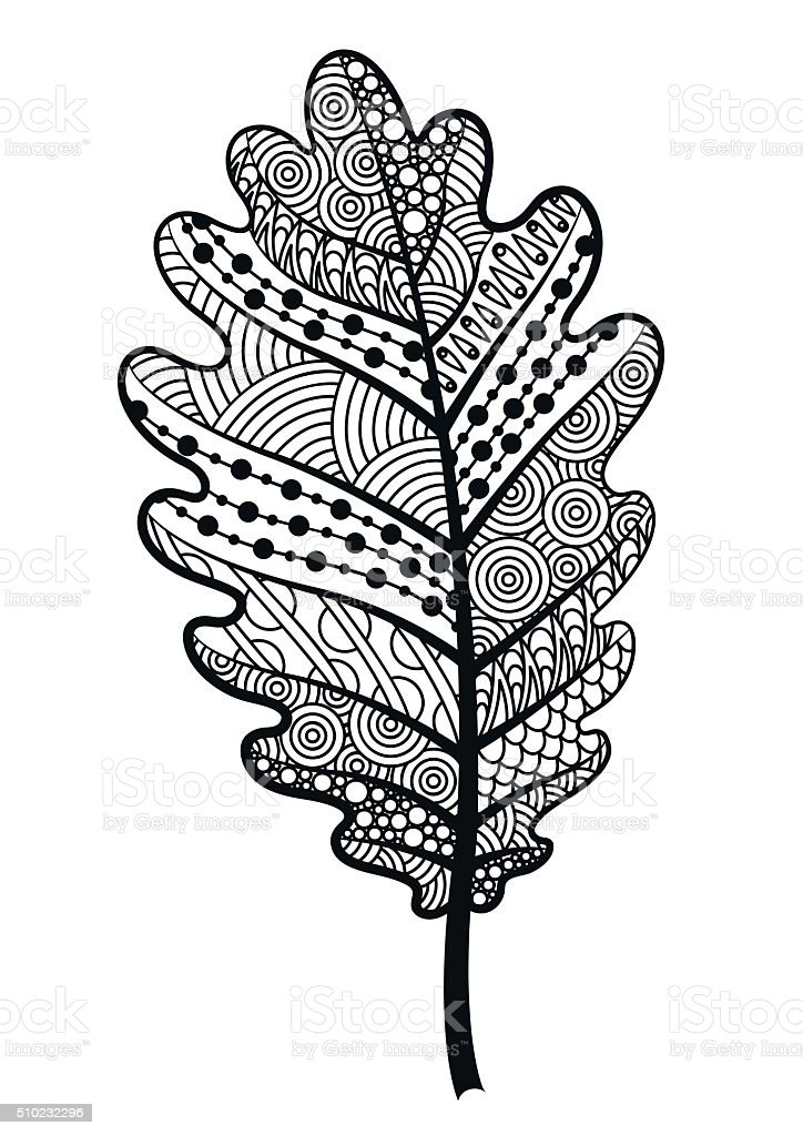Decorative black and white leaf of the tree  oak. vector art illustration