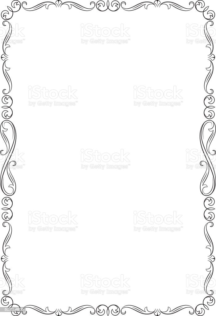 decorative black frame a4 page proportions イラストレーションの