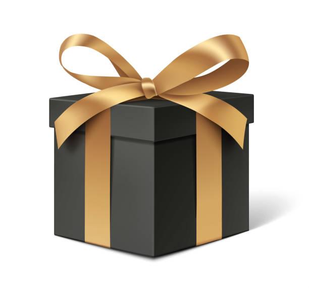 ozdobne czarne pudełko z złotą kokardką wyizolowane na białym tle. - gift stock illustrations