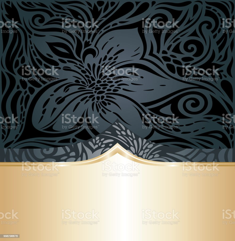 Decorative Black Gold Floral Luxury Wallpaper Background Trendy Fashion Design Royalty Free