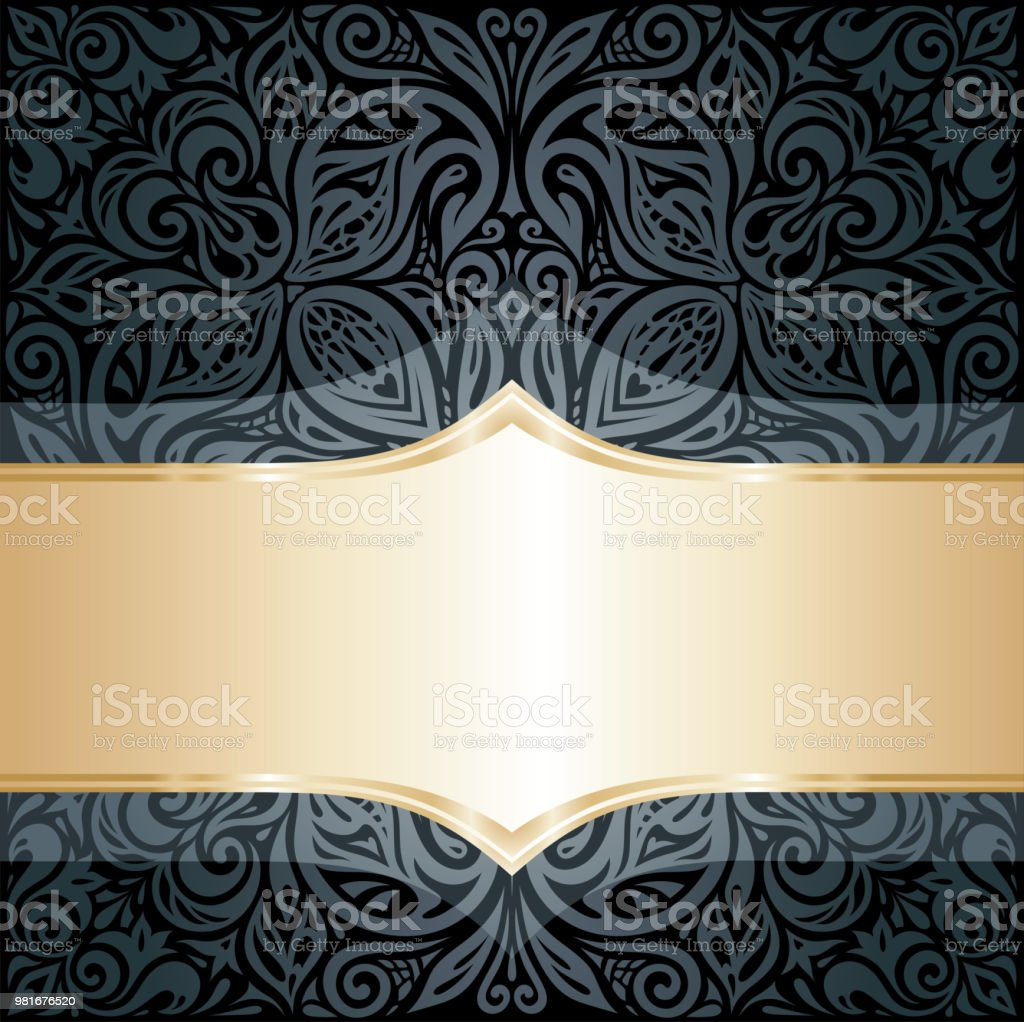Decorative Black Gold Floral Luxury Wallpaper Background Stock