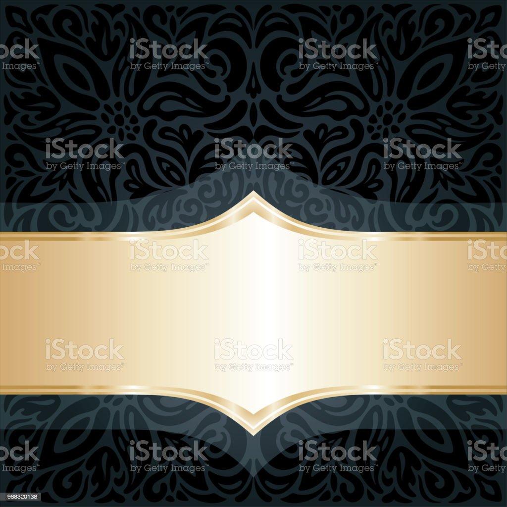 装飾的なブラック ゴールド ビンテージ スタイルの花柄高級壁紙曲線
